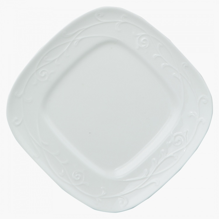 White Embossed Square Plate 15.8 cms