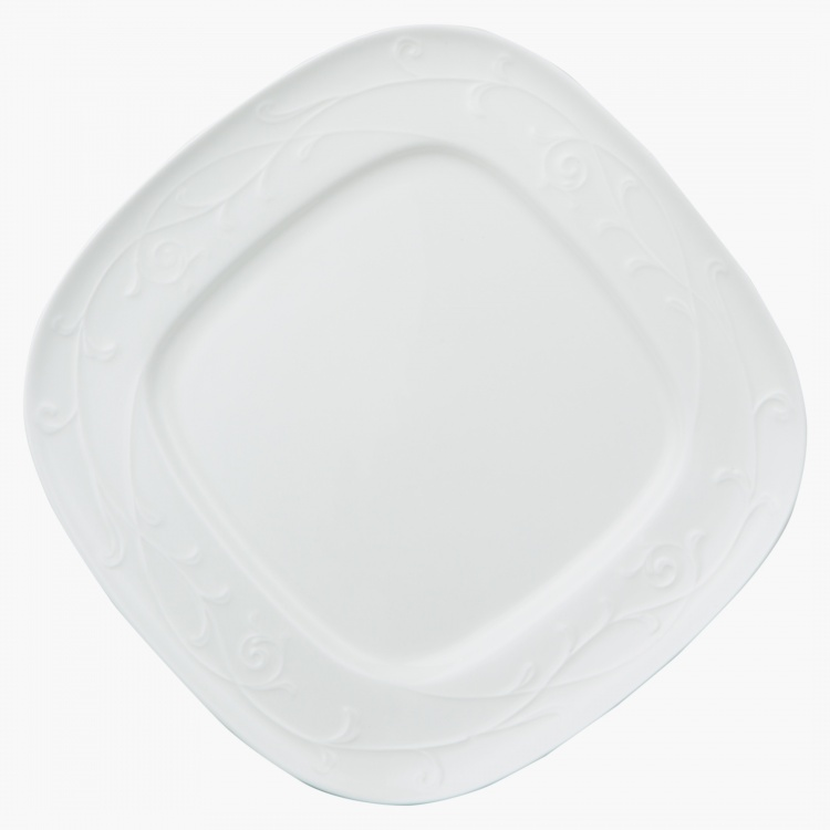 White Embossed Square Plate