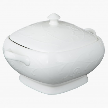 White Embossed Bowl with Cover