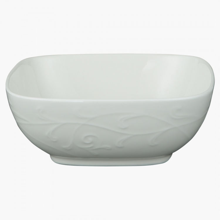 White Embossed Square Bowl