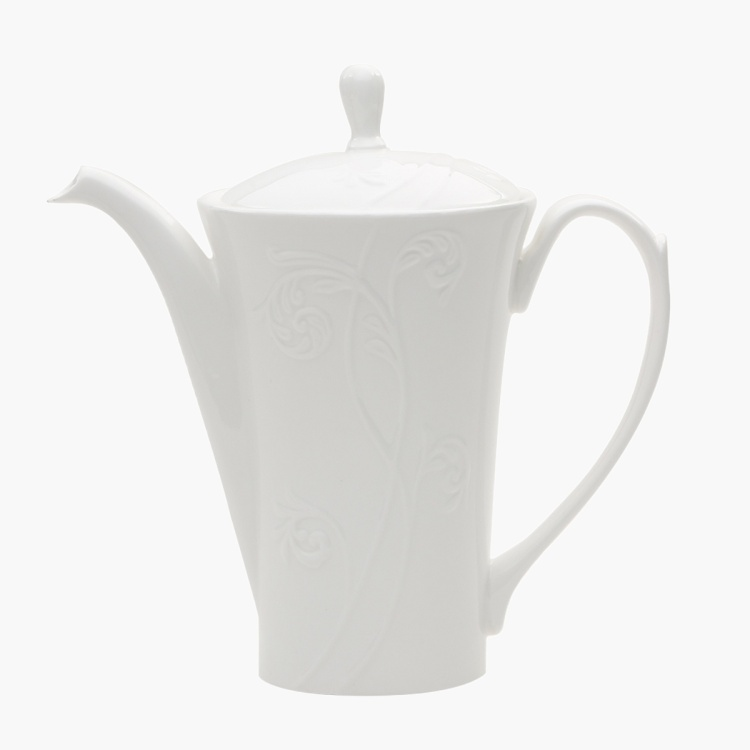 White Embossed Coffee Pot