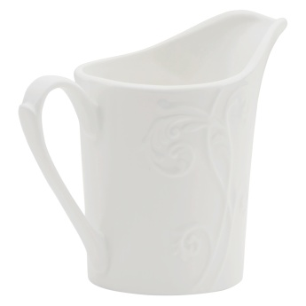 White Embossed Milk Pot