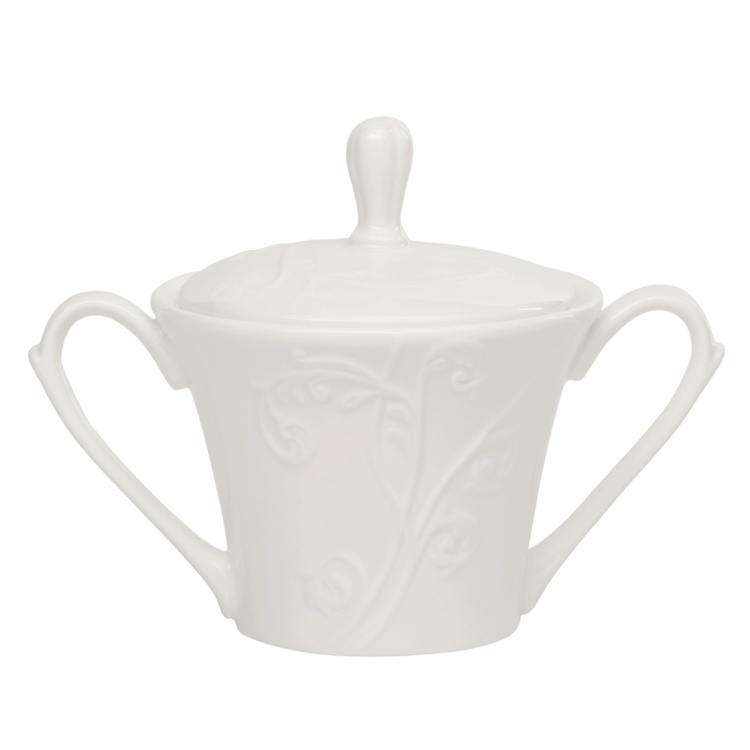 White Embossed Sugar Jar
