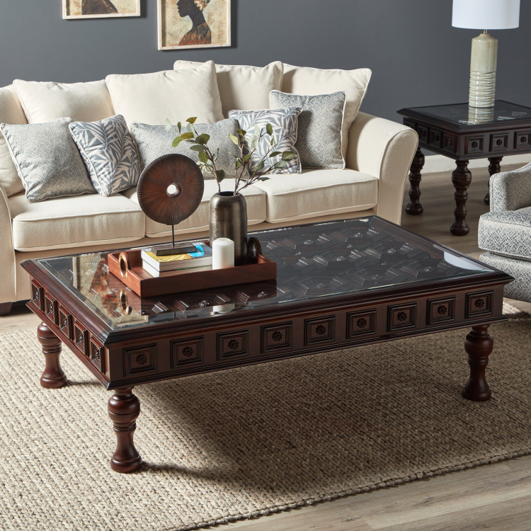 Northbrook Carved Coffee Table with Glass Top