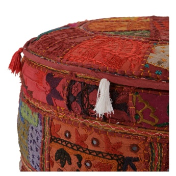 Clasa Round Pouffe with Embroidery - 56x56 cms