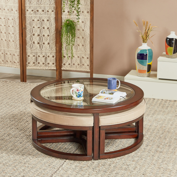 Malmo Coffee Table with 4-Nesting Stools