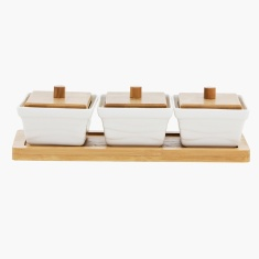 Mojo Canisters with Bamboo Cover and Base - Set of 3