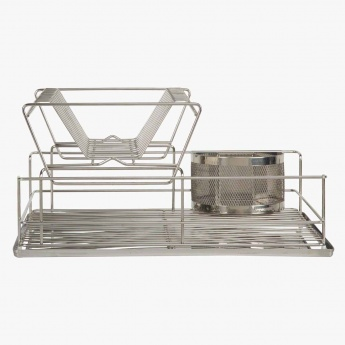 Double Deck Dish Drainer with Cutlery Caddy