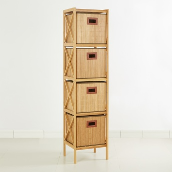 Bamboo Bathroom Cabinet with 4 Drawers