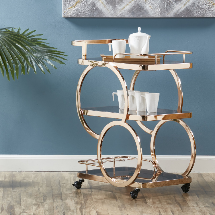 Amber 3-Tier Serving Trolley
