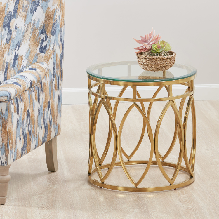 Carved End Table with Glass Top