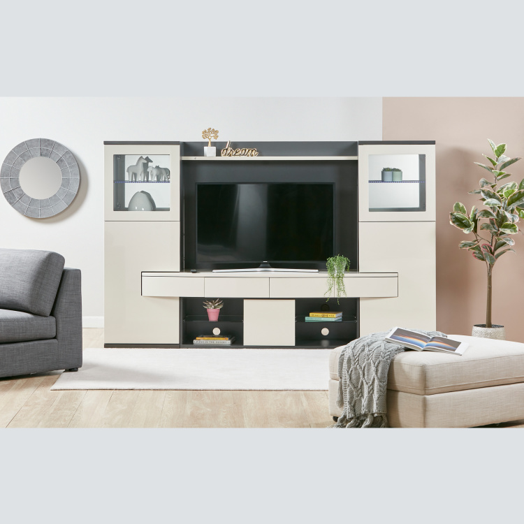Orazia 5-Drawer Wall Unit with Open Shelves