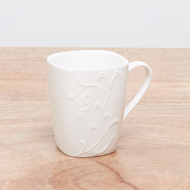White Embossed Mug with Handle - 350 ml