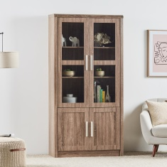 Saturn 3-Shelf Bookcase with 4-Doors - 100x39x200 cm