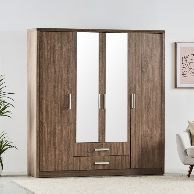 Saturn 4-Door Wardrobe with Mirror and 2-Drawers
