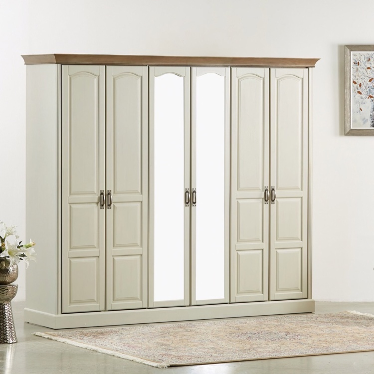 Louis 6-Door Wardrobe with Mirror