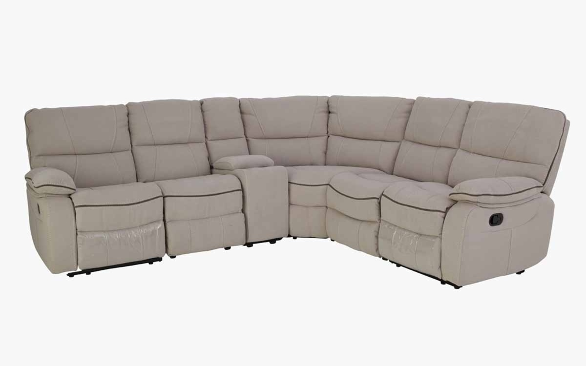 Evans Recliner Corner Sofa Grey Fabric