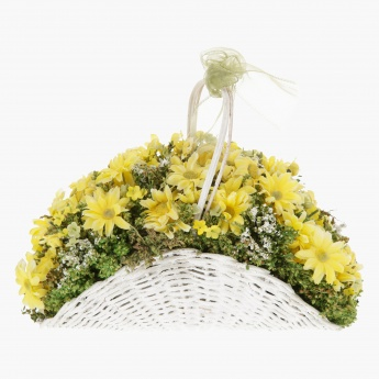 Daisy and Gypsophila in Rattan Basket 20 cms