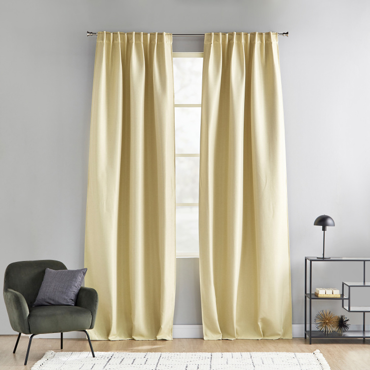 Herringbone Jacquard 2-Piece Curtain Set - 140x300 cms