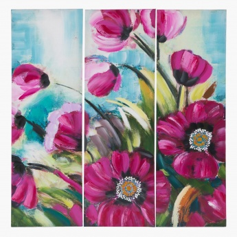 Floral Oil Canvas Painting - Set of 3