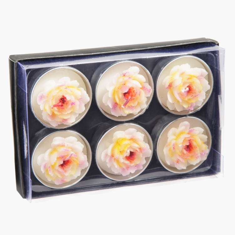 Novel Peony Tealight Candles - Set of 6