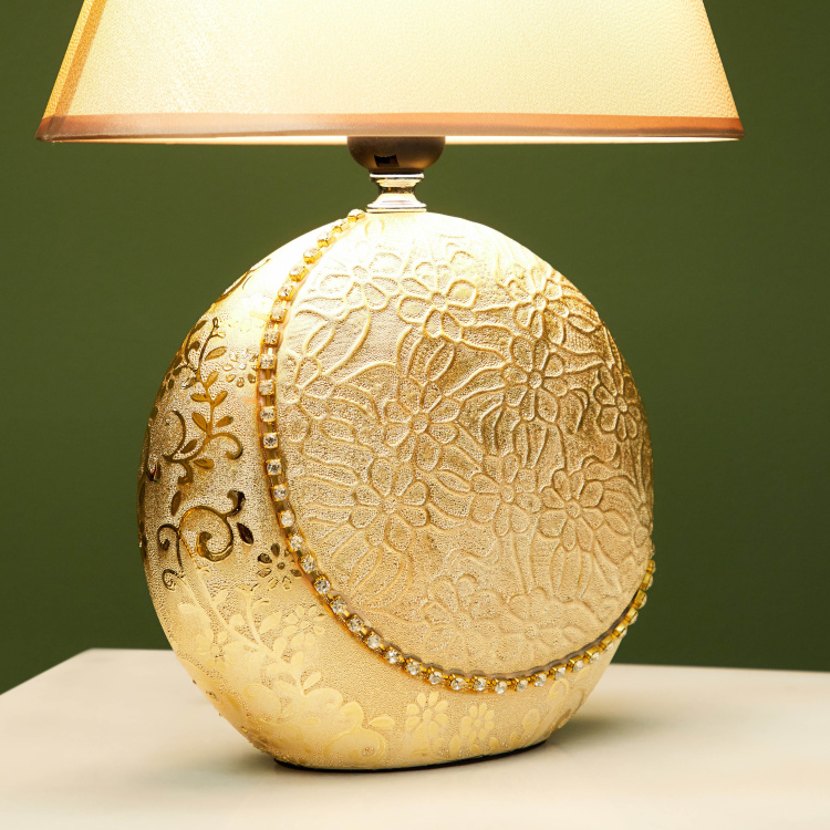 Crescent Embellished Electric Table Lamp - 39 cms