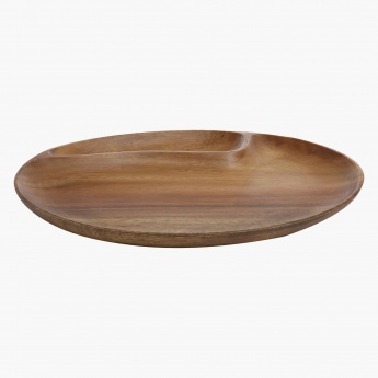 Acacia Wooden 2 Compt Oval Tray