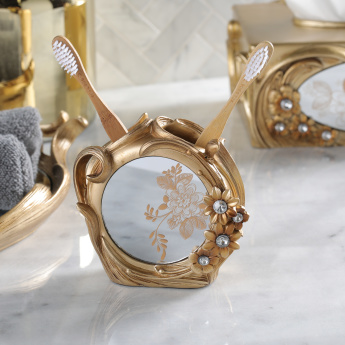 Victoria Engraved Toothbrush Holder with Mirrored Finish