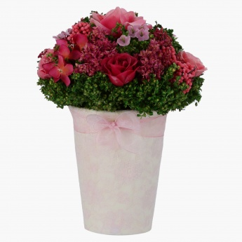 Pinky Mix Rose Arrangement in Vase - 15 x 20 cms