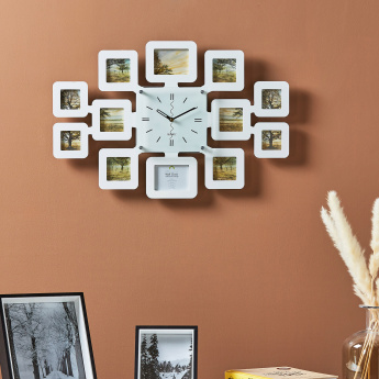 Carlo Wall Clock with 12-Photo Collage Frames
