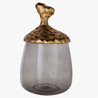 Chisseled Decorative Jar with Lid - Small