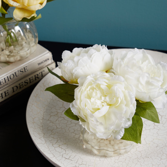 Decorative Peony with Holder and Pebbles