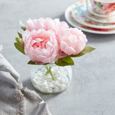 Peony Artificial Flowers with Vase - 18 cms