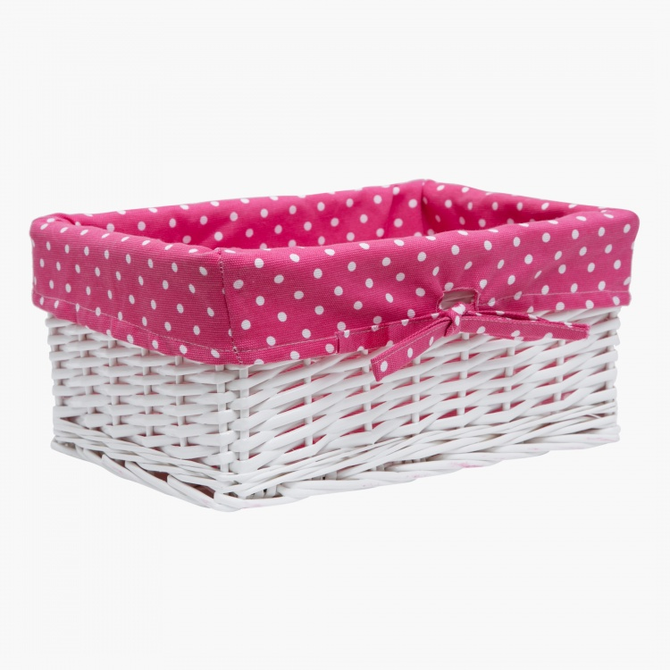 Ditsy Dots Wicker Basket Large