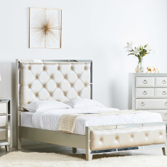 Majestic Queen Bed with Tufted Headboard - 155x205 cms