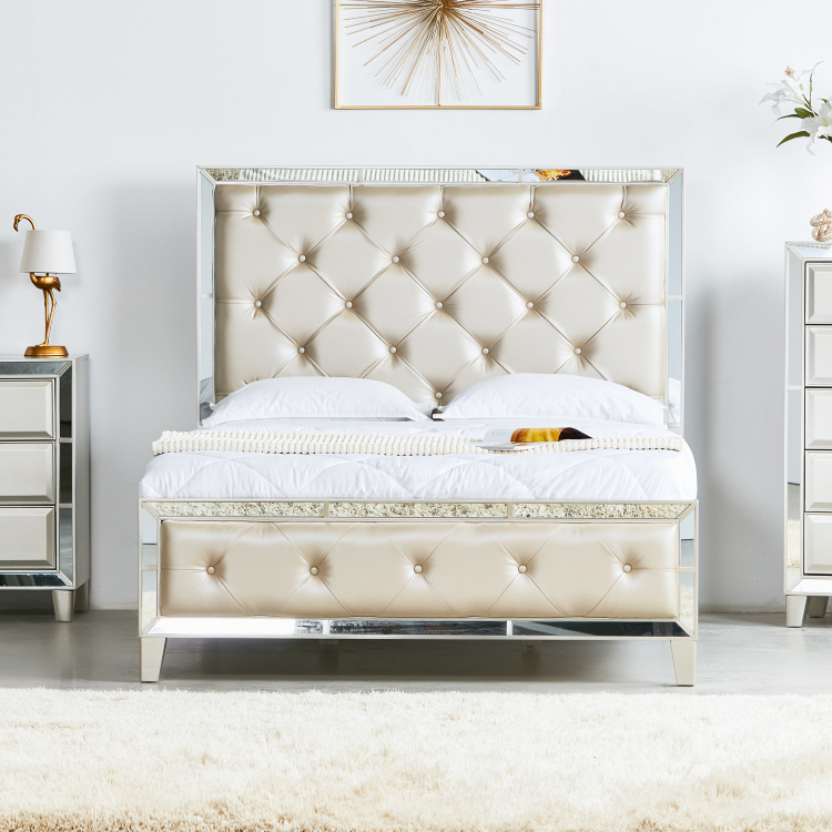 Majestic King Size Bed with Tufted Headboard - 180x210 cm