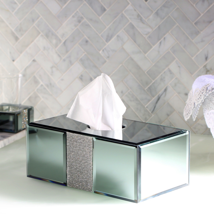 Ice Flow Tissue Box Cover with Embellishment