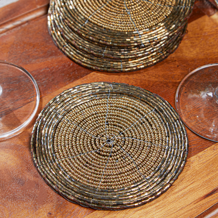 Glamour Beaded Round Coasters - Set of 4