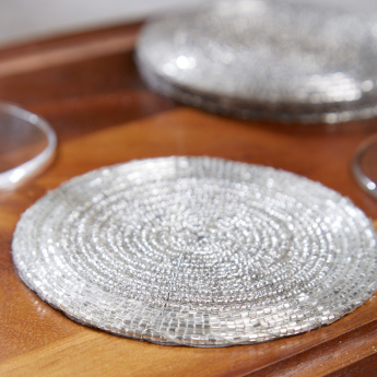 Glamour Round Beaded Coasters - Set of 4