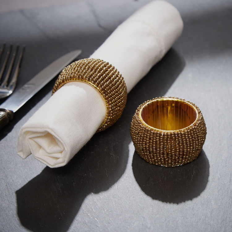 Glamour Beaded Napkin Ring - Set of 2