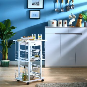 Cazo Riva 4-Tier Kitchen Trolley with Shelves and Drawer