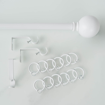 Blanc Single Extendable Curtain Rod with Round Finial - 110-270 cms