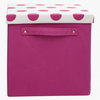 Dotty Printed Box with Lid and Handle