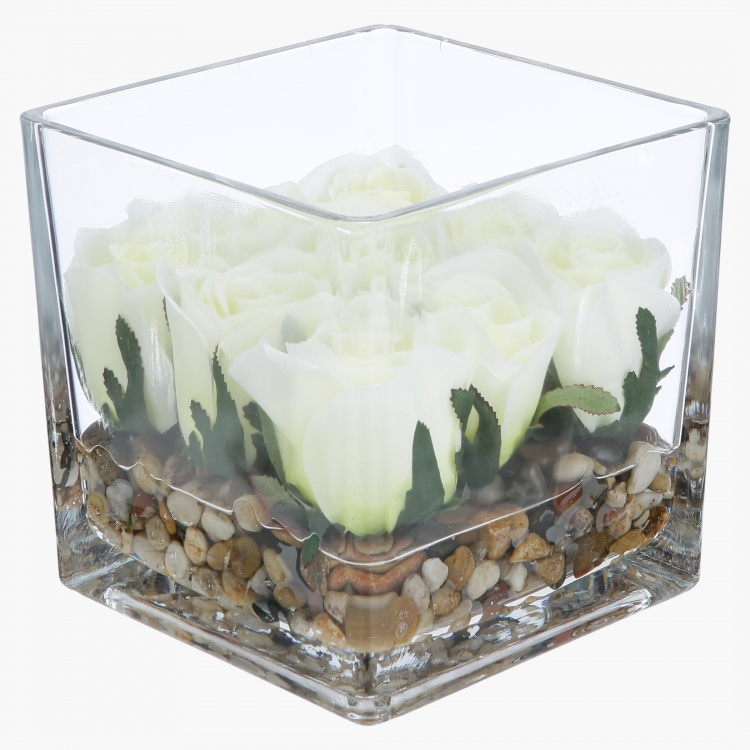 Rose Artificial Flower in Square Glass - 16 cms