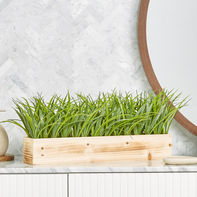 Grass on Rectangular Wooden Pot