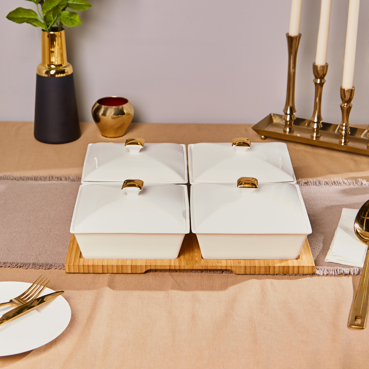 Rabat 4-Piece Serving Set with Bamboo Tray