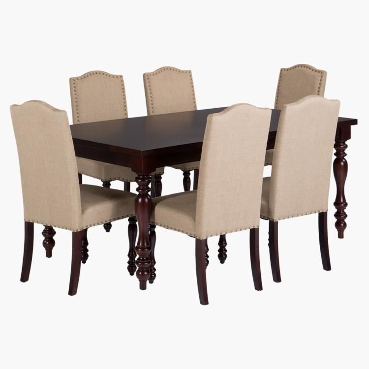 Century 6 Seater Extendable Dining Table Set Espresso Engineered Wood