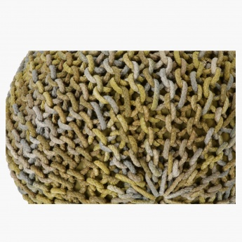 Soft Furnishing Chunky Braided Round Pouf - 60x48 cms