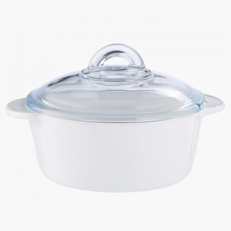 Pyrex Flame Round Casserole with Lid - 1 L