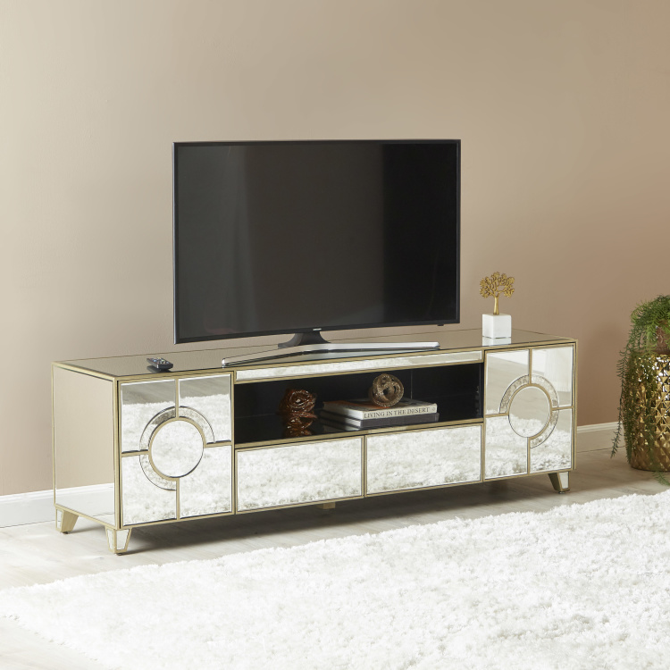 Mystique Mirrored 2-Drawer and 2-Door TV Unit for TVs up to 65 inches